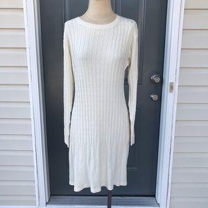 Cream White Ribbed Sweater Dress